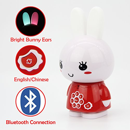 Price comparison product image alilo Honey Bunny 8GB Bluetooth MP3 player for Kids Learning Toy with English & Chinese Story Songs for Baby with Sound Recorder Night Light (Red)