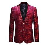 Cloudstyle Men's Dress Floral Suit Notched Lapel Slim Fit Stylish Blazer, Red 2, X-Large