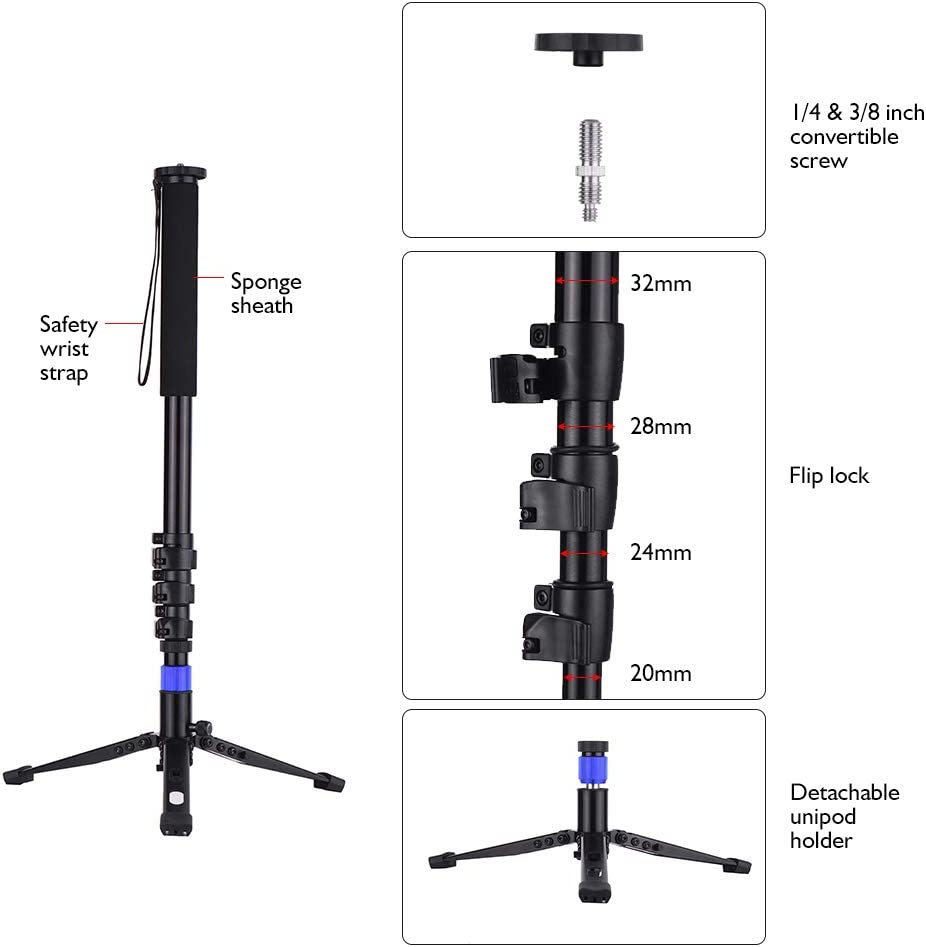 Load Capacity 5kg TPOTOO Aluminum Alloy Flip Lock Monopod with Unipod Holder 1//4 3//8 Inch Screw Mounts for DSLR ILDC Camera Camcorder DV 4-Sections Up to 67 Inch Max