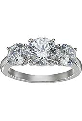 Platinum-Plated Sterling Silver Swarovski Zirconia 4cttw Round 3 Stone Anniversary Ring