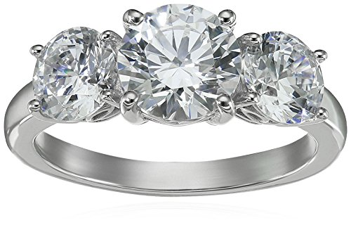 Platinum-Plated Sterling Silver Round 3-Stone Ring made with Swarovski Zirconia (4 cttw), Size 8