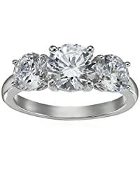 Platinum Plated Sterling Silver Three-Stone Anniversary Ring set with Round Cut Swarovski Zirconia (4 cttw), Size 8