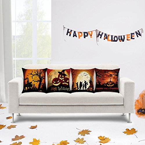 MOCOFO 4 Packs Halloween Pumpkin Wizard Theme Happy Halloween Decorative Square Soft Linen Throw Pillow Case Cushion (Decorativos De Halloween)