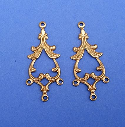 Earrings Jewelry Component Finding Pendant 2 Vintage Brass Deco Stampings Heavy Gauge