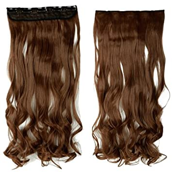 Syalex (TM) Long clip in extension Half Full Head 100% capelli naturali estensioni 43, 2cm ondulate light brown