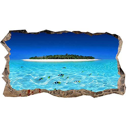 MOBEITI 3D Photo Decor Window Island and Clear Water Amazing Dual View Surprise Large Wall Mural Wallpaper for Living Room or Bedroom 120 x 220 cm
