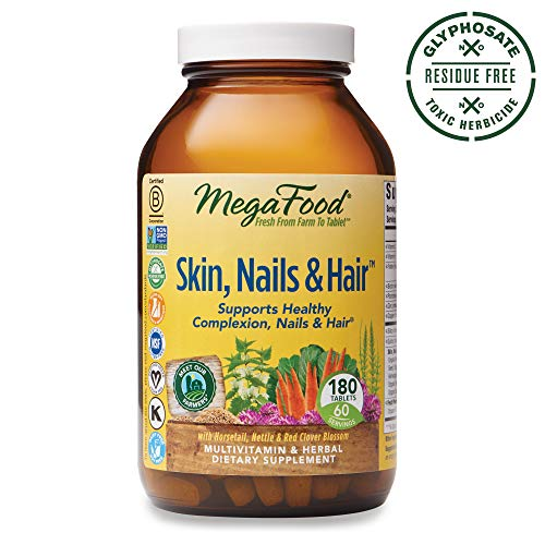 MegaFood, Skin, Nails & Hair, Supports Healthy Complexion, Nails & Hair, Multivitamin & Herbal Dietary Supplement, Gluten Free, Vegan, 180 Tablets (60 Servings) (FFP) (Best Vitamins For Hair And Nails And Skin)