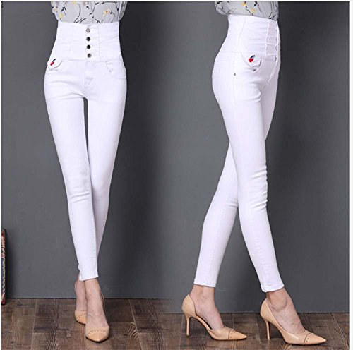 pour haute Blanc femme crayon Huateng Jeggings Pantalon Jeans taille Skinny Slim extensible qwwFRxHT