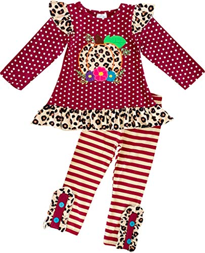Cheetah Girls Halloween Outfits (Baby Girls Halloween Outfit Polka Dot Cheetah Pumpkin Top Pant Set Burgundy)