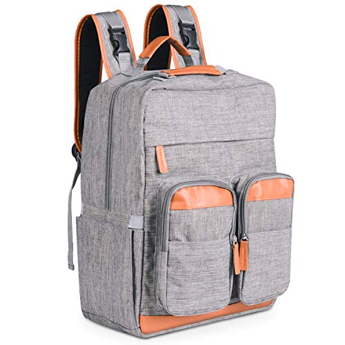 Diaper Bags Backpack, Multifunction Travel Backpack for Mom and Dad, Nappy Bags for Baby Care, Large Capacity, Water-Proof and Styish, Bright Gray