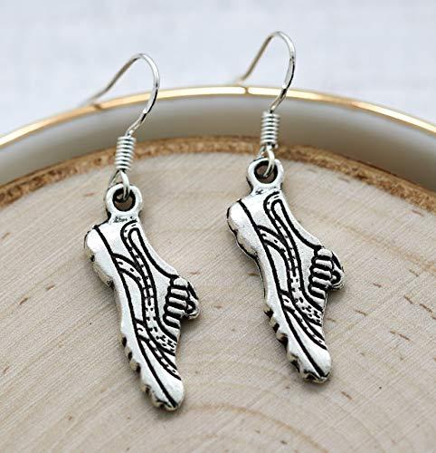 (Running Shoe Cross Country XC Earrings Sterling Silver Hooks for Women - Track Gift for Runner - Fast Shipping)