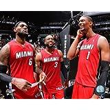 "LeBron James, Dwyane Wade, Chris Bosh Miami Heat 2014 NBA Playoff Action Photo (Size: 8"" x 10"")"