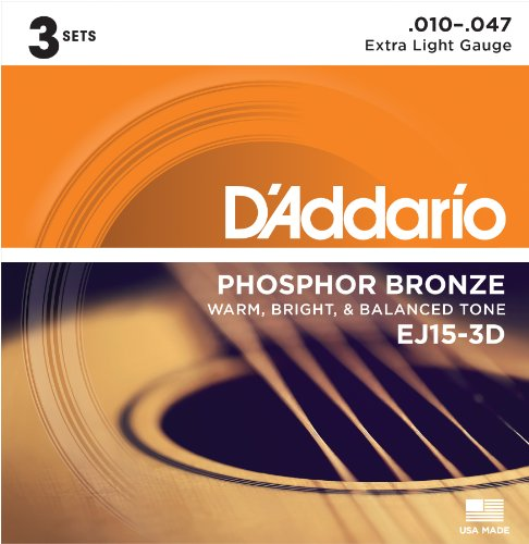 (D'Addario EJ15 Phosphor Bronze Acoustic Guitar Strings, Extra Light (3 Pack) – Corrosion-Resistant Phosphor Bronze, Offers a Warm, Bright and Well-Balanced Acoustic Tone and Comfortable)