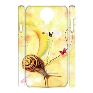 3D Samsung Galaxy S4 Case Elegant Snail Illustration Desktop, Snail Case for Samsung Galaxy S4 I9500 [White]