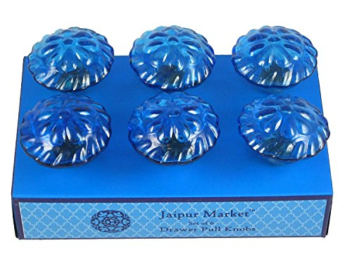 Jaipur Market 6 Count Decorative Blue Crystal Look Drawer Pull Knobs ()