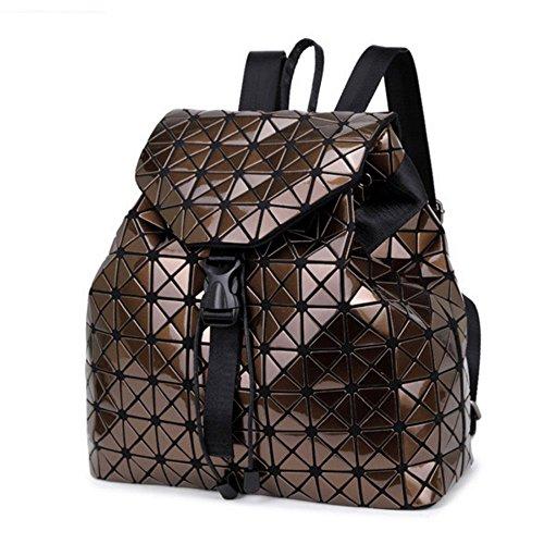 DIOMO Geometric Lingge Laser Women Backpack Travel Shoulder Bag(Brown) - Brown Plaid Backpack