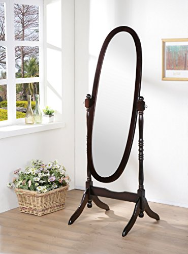 Wooden Cheval Floor Mirror, Espresso Finish