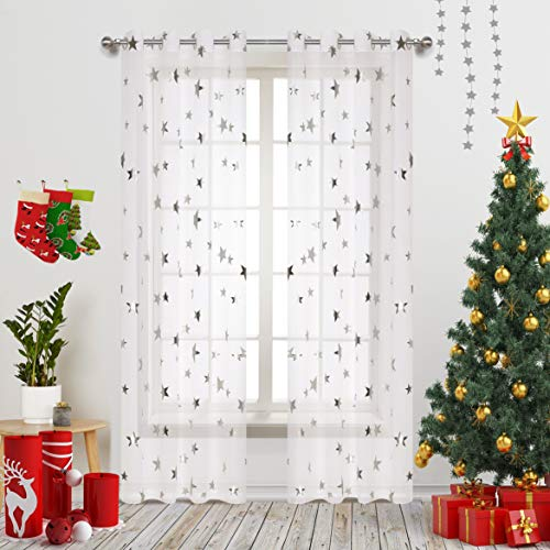 (Silver Star Print Curtains White Sheer Window Drapes with Twinkle Star for Living Room 2 Panels Eyelet/Ring Top Transparent and Soft Cosmic Theme for Bedroom and Space-Loving Grown-ups 54