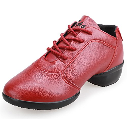 VECJUNIA Ladies Lace-Up Leather Breathable Dance Sneaker Red yVssWX