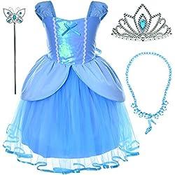 Princess Cinderella Costume Toddler Girls Birthday Dress Up With Tiara (2T 3T)