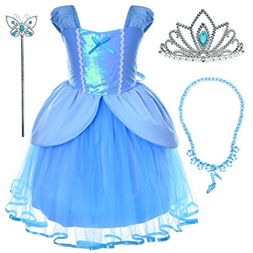 Princess Cinderella Costume Toddler Girls Birthday Dress Up With Tiara (5T 6T)]()