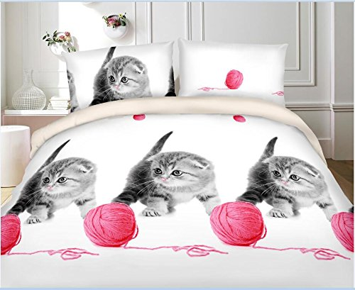 Vivid 3D Bed Sheet Set Animals Print Little Cat playing Wool Ball in Queen King Size - Wrinkle Free, Fade Resistant, Ultra Soft (Queen, KITTEN-Y41)