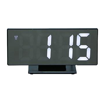 Homyl Reloj Sobremesa Multifuncional con Pantalla Pantalla LED, Espejo Digital Electrónico, Despertador - A: Amazon.es: Hogar