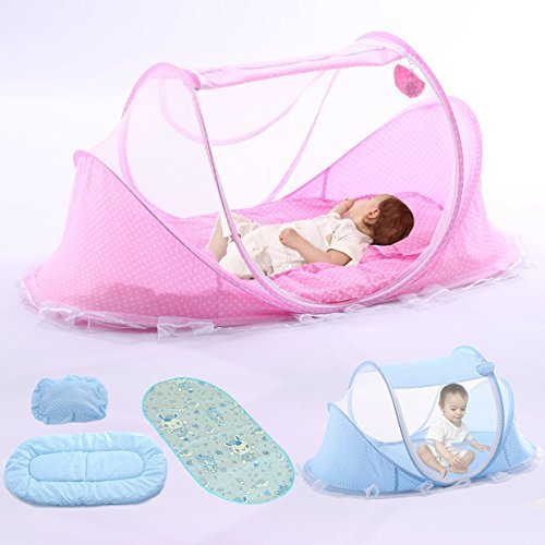 YOUDirect Baby Travel Bed - Foldable Zippered Baby Mosquito Net Soft Crib Portable Large Baby Camp Tent Pop up Folding Beach Tent Mosquito Net for 0-18 Month Baby (Pink.)