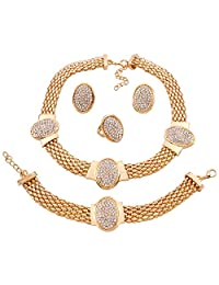 Yazilind Women's 18K Gold Plated Rhinestone Choker Collar Necklace with Earrings Set and Ring