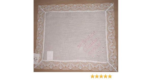 PRIMERAEDAD/Pañuelo bautizo blanco personalizado con nombre y fecha/32 x 26 cm/: Amazon.es: Bebé