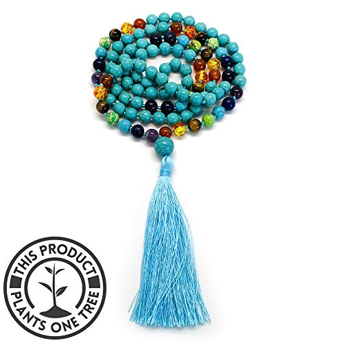 Aspen & Eve Earth Malas 108 Bead Japa Mala Necklace - 8mm Stone Beads + Guru Bead - Tibetan Buddhist Jewelry for Mindfulness (Turquoise + 7 Chakras) ()
