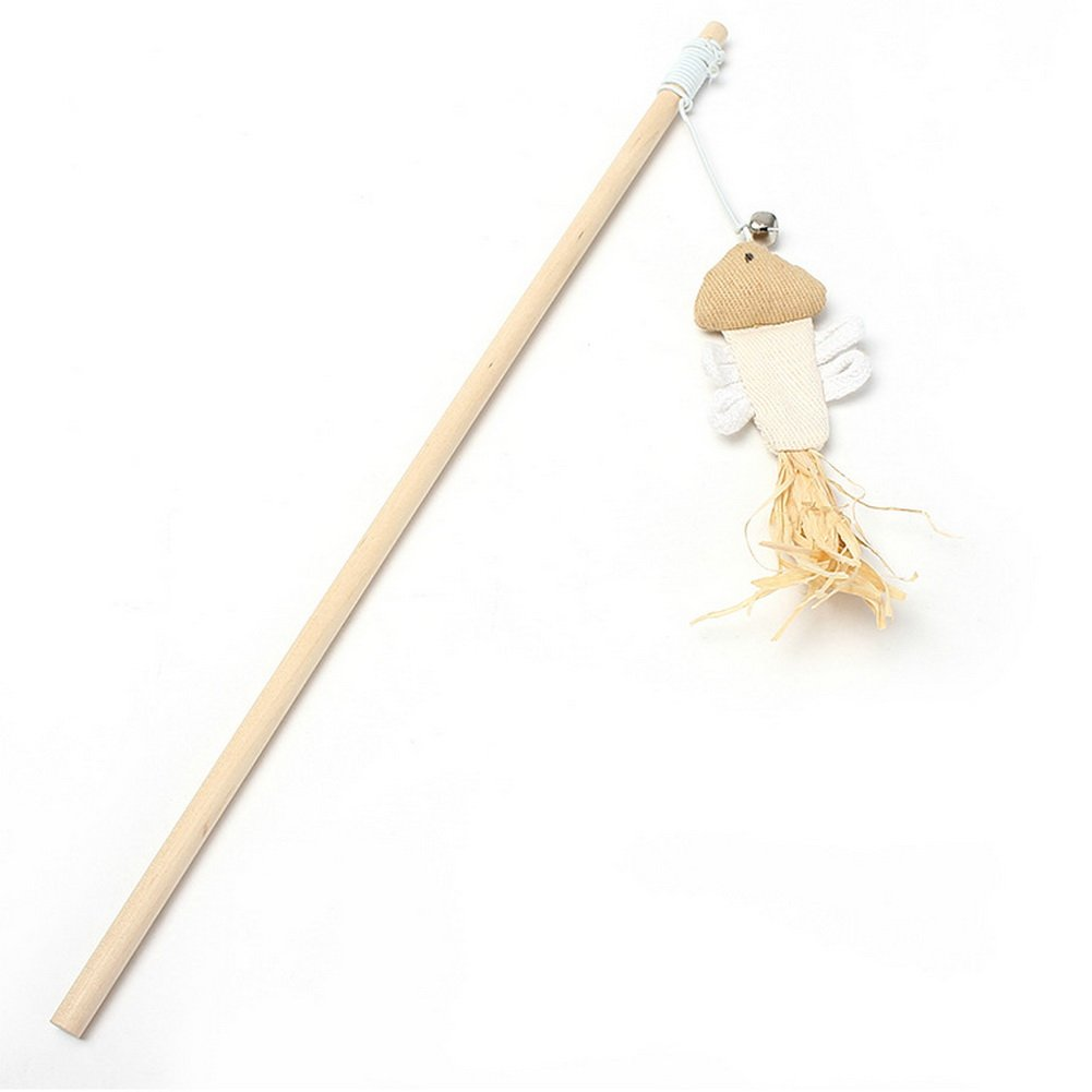 Dimart A Small Fish Style Wooden Linen Fish Cloth Funny Cat Stick