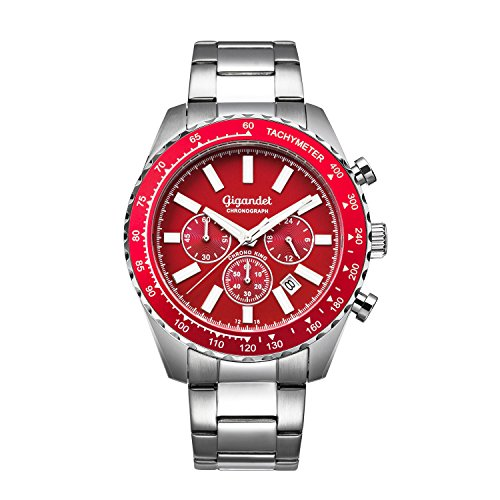 Gigandet Men's Quartz Watch Chrono King Chronograph Analogue Silver Red G28-005