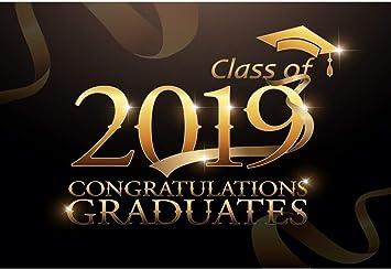 Class of 2019 Background 7x5ft Congrats Graduates Vinyl Photography Backdrop Golden Trencher Cap Mortarboard Ribbons Students School Graduation Ceremony Portraits Shoot Poster Wallpaper