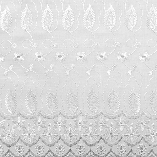 Daisy in Leaf 100% cotton Embroidered Eyelet 42 inch Fabric By the Yard (F.E.) (White)