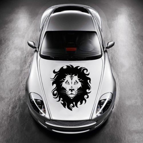 [Vinyl Decals for Car Hood Animal Tribal Wild Lion Wildcat Sticker Art Any Vehicle Window Graphics Mural] (Vinyl Cat Hood)
