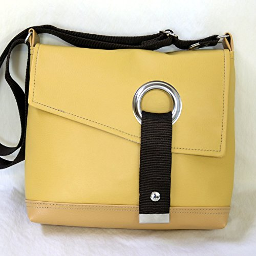 Stella Crossbody Messenger Bag, Faux Leather Messenger in Mustard Yellow by Zaum