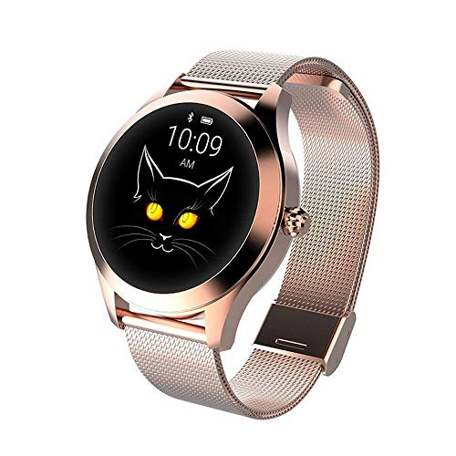Layopo KW10 Fashion Smart Watch, IP68 Fitness Tracker for Women's Period,Steel/Leather Belt Bracelet Watch,Lovely Round Touch Screen,Multi - Sports Mode for -