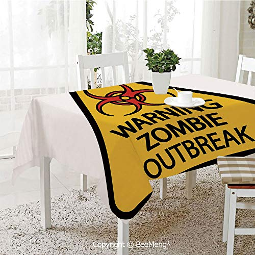 Dining Kitchen Polyester dust-Proof Table Cover,Zombie Decor,Warning Zombie Outbreak Sign Cemetery Infection Halloween Graphic Decorative,Earth Yellow Red Black,Rectangular,59 x 59 inches for $<!--$27.39-->
