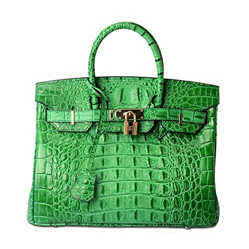 Lalagen Women's Crocodile Embossed Clearance Genuine Leather Top Handle Padlock Purses and Handbags Green (Crocodile Genuine Handbag)