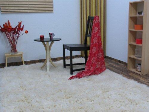 Flokati Teppich Qualität 2000 natur Kult Shaggy Teppich Hochflor Langflor 100% Schurwolle, Größe: 70x140 cm