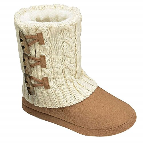 Womens Annabelle Gretel Farrah Fairisle DUNLOP Fluffy Warm Knitted Slipper Boots CHESTNUT KNIT 7Zp7S9NMo