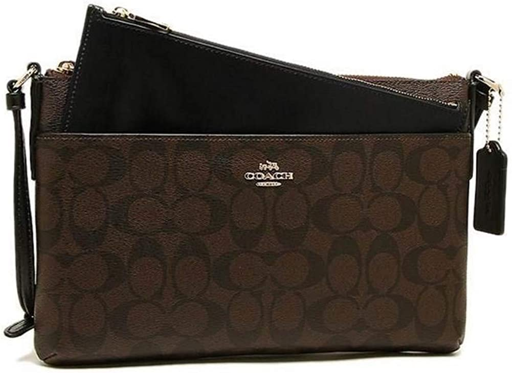 Coach Signature East West CrossBody,Color Brown//Black