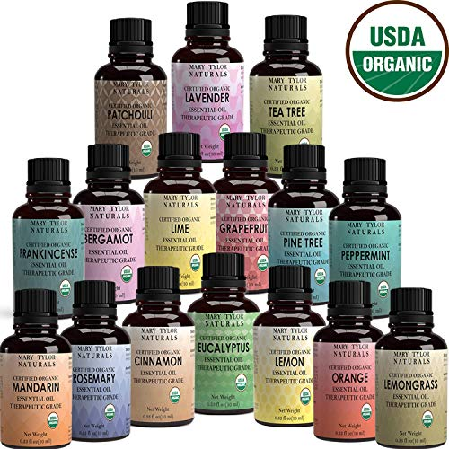 Certified Organic Essential Oils Set Top 16 x10 ml Lavender Peppermint Lemon Orange Lemongrass Rosemary Eucalyptus Tea Tree Mandarin Lime Frankincense Patchouli Pine Bergamot Grapefruit Cinnamon ()