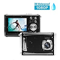 "Waterproof Digital Camera,16MP Full HD 1080P 2.4"" LCD Screen 3M Digital Underwater Camera with 8X Digital Zoom,Rechargeable Battery,Flash and Mic for Boys Girls Gift"