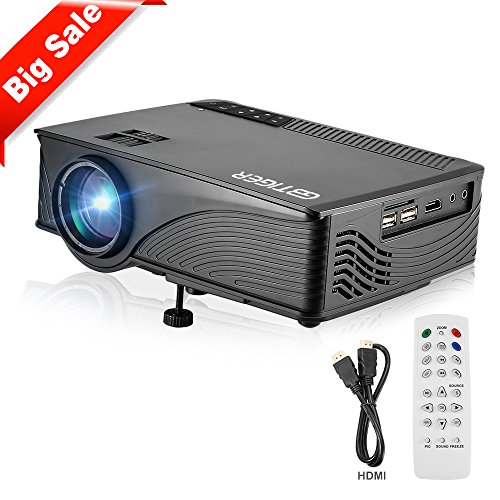 GBTIGER 2200 Lumens Full HD 1080P Mini Projector LED Home Projector Support Full HD 1080P 800 x 480 Pixels Portable Multimedia Home Theater Movie Game Video Projector (GPBlack-HDMI&VGA)