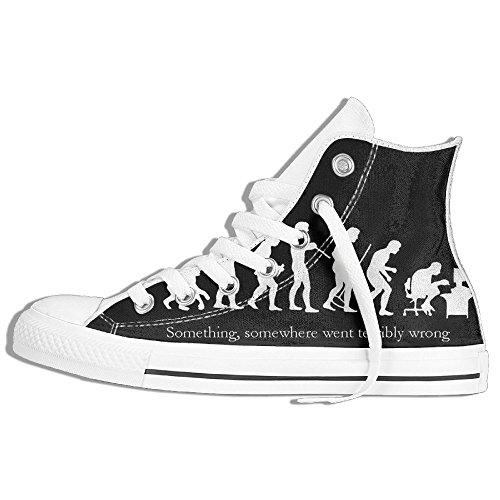 Baskets Montantes Classiques Toile Chaussures Anti-dérapant Drôle Mignon Décontracté Marche Pour Hommes Femmes Blanc