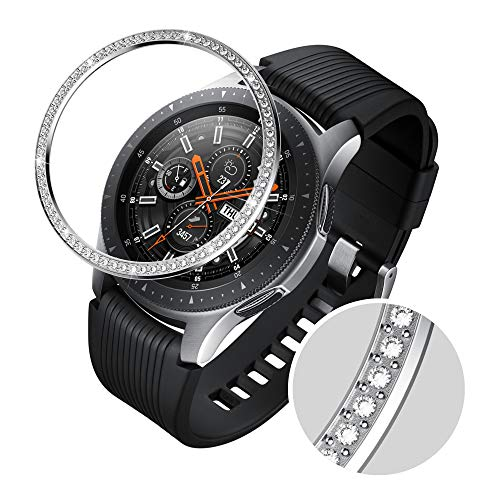 - GELISHI Stainless Steel Bezel Ring Compatiable Galaxy Watch 46mm/Galaxy Gear S3 Frontier & Classic Bezel Loop Adhesive Cover Anti Scratch & Collision Protector for Galaxy Watch Accessory (Silver-07)
