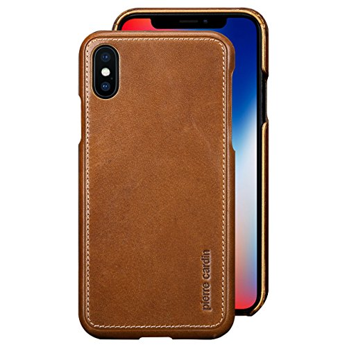 New Premium Leather Case (iPhone X Case , Pierre Cardin Premium Genuine Cow Leather with New Slim Design Hard Case Cover Fit for Apple iPhone X (Brown))