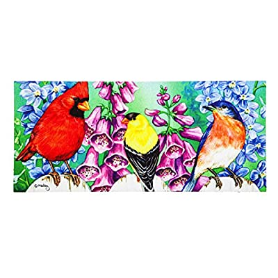 Evergreen Birds on Fence Sassafrass Decorative Mat Insert, 10 x 22 inches
